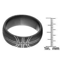 海外バイヤー厳選ブランド アニバーサリーリング Black Zirconium Comfort-fit Basketball Wedding Band Ring