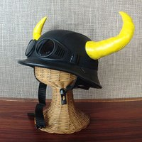 おもしろ雑貨 キャラクター かぶりもの:角付きバイキングヘルメット風帽子(角黄)