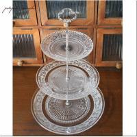 グラス 3段 コンポート クリア ガラスプレート シャルマン ケーキスタンド オブジェ ディスプレイ アンティーク調 店舗什器