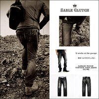 SABLE CLUCTH/セーブルクラッチ GARAGE TOUGH VINTAGE USED JEANS (SLIM) ヴィンテージユーズド加工 スリムジーンズ
