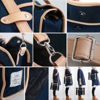 キャンバス素材 取外し可能ショルダーストラップ付 スクエアボストン型 スクールバッグ(4色)
