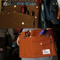 【予約販売】ガレージバッグ ウエストバッグ ヒップバッグ  8号キャンバス ヌメ革 スナップボタンベルト (ザ・キャンベット) THE CANVET