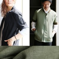 r161018024 [商品説明] ・MA-1なのに半袖・裾リブ無し? ・シャツ感覚の薄手綿麻 [素...
