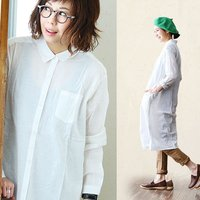 r161228015[商品説明]・薄手で透け感のある、綿麻地のシャツワンピース。・綿麻の素朴な風合い...