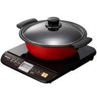 吹きこぼれ防止機能が搭載された鍋付き卓上IH調理器 設置タイプ:卓上 ヒーター:1 口 最大火力:1...