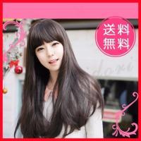 黒髪 ぱっつん 前髪 ウィッグ ロング ストレート No.21ブラック