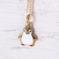 ホワイト & ゴールド ペンギン ネックレス レディース アクセサリー