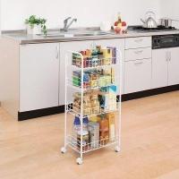 キッチンやランドリー周りなどの収納スペースの少ない場所で有効活用できるキャスター付きメッシュワゴンで...