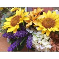 フラワーリース ギフト 造花 玄関リース 母の日 ひまわりのリース アートフラワー 造花リース 38x40cm No.wreath-14570