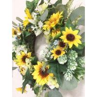 フラワーリース/ギフト/造花/玄関リース/ひまわりのリース(19)/40cm/No.wreath-14594
