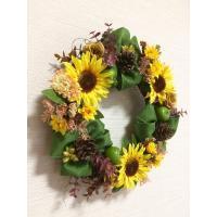 フラワーリース ギフト 造花 玄関リース ひまわりのリース(27) アートフラワー・造花リース 33cm No.wreath-14626