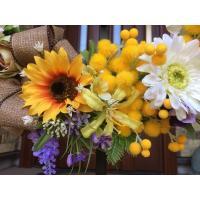 フラワーリース ギフト 造花 玄関リース ミモザとひまわりの春リース(2) 40cm No.wreath-14777