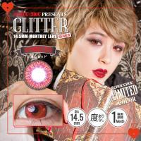 マンスリーカラコン chouchou glitter チュチュグリッターシリーズ ポムレッド 赤 度...