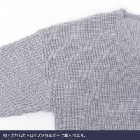 ざっくりニット/Vネック/畦編み/チュニック/ボーダー/MD