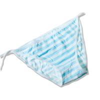 レディース コスプレ 撮影用 ビキニ風 下着タイプ ボーダー 縞模様 紐パンツ#ブルー+ホワイト
