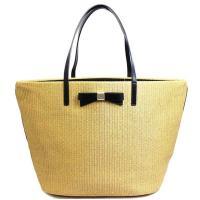 ケイトスペード人気のトートバッグ!かごバッグ調のデザインに中央のレザーのリボンがとってもお洒落!A4...
