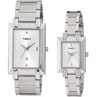 商品名:Timex Classics Pair Plain 3 hands Analog Silve...