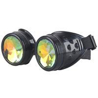 コスプレ衣装Lelinta Rainbow Crystal Lenses Steampunk Glasses Chrome Finish Gotchic Welder Goggles