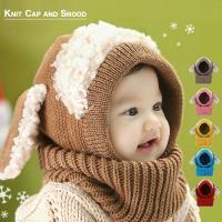 ヒツジ耳がかわいい ニット帽とスヌードがひとつになりました! ニットなので、寒い冬でも暖かいですよ。...