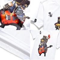 Tシャツ トップス カットソー 半袖 ラウンドネック 白 ホワイト メンズファッション メンズ用 メンズ 男性 シンプル カジュアル プリント 犬 動