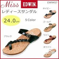 Miss EDWIN ミスエドウィン レディースサンダル 24.0cm EW9457 ブラック