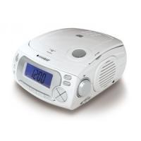 大型デジタルディスプレイ時計が付いたアラーム機能搭載のCD&ラジオプレーヤー。普段はCDやラ...