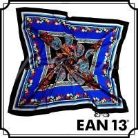 イアン トレディッチ EAN13 プリントシルクスカーフ ブルーマルチ 1A01-08873