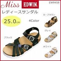 Miss EDWIN(ミスエドウィン) レディースサンダル 25.0cm EW9459 ブラック