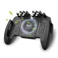 【最新6本指】 荒野行動 PUBG Mobile ゲームコントローラー 冷却ファン付き ゲームパッド 引き金式高速射撃ボタン クリック感 iPhone Android 等対応 B07SX2HDQ