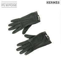 エルメス HERMES レザー レディース グローブ 手袋 ブラック 黒 シルバー SV 金具 6