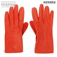 エルメス HERMES セリエ グローブ オレンジ レザー 22 7