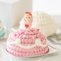世界に一つだけ 自分で飾り付けのできる プリンセスケーキ ピンクドレス 5号 送料無料 お人形が選べ..