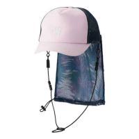 帽子を畳みスナップボタン留めの日よけに収納することで、コンパクトに携帯できるハーフメッシュサーフキャ...