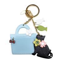 バッグチャーム お散歩 バッグ おすわりねこちゃん キーホルダー レディース かわいい Happy 名入れ無料  ギフト 5カラー バッグストラップ ネコ 猫
