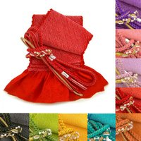 総絞り 帯締め 帯〆 帯揚げ 成人式   総絞り帯揚げと、飾り付き帯締めのセットです。帯揚げは正絹綸...