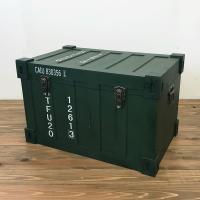 収納 キャビネット ボックス収納 ラック 棚 トランクケース型ボックス グリーン インダストリアル アンティーク調 完成品|rakusouya
