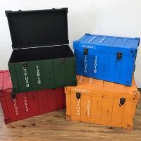 収納 キャビネット ボックス収納 ラック 棚 トランクケース型ボックス グリーン インダストリアル アンティーク調 完成品|rakusouya|02