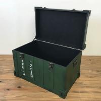収納 キャビネット ボックス収納 ラック 棚 トランクケース型ボックス グリーン インダストリアル アンティーク調 完成品|rakusouya|03
