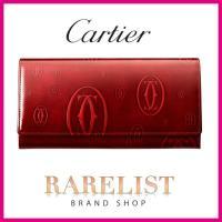 カルティエ Cartier 財布 長財布 フラップ かぶせ 新作 ボルドー バーガンディー シルバー パテント エナメル レザー 2C ロゴ