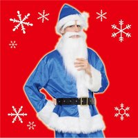 〔クリスマスコスプレ 衣装〕 GOGOサンタサン ブルー 青
