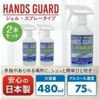 あすつく 日本製 アルコール ジェル スプレー エタノール75% 2本 アルコール除菌スプレーとハンドジェルの2WAY ハンズガード480ml送料無料