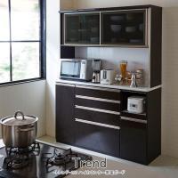 高級 キッチンボード 食器棚 W1500 × D480 × H1980 mm 木目 ブラック 国産 120cm幅 食器収納 トレンド