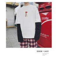 Tシャツ メンズ ロンT カットソー 春 夏 重ね風 切替え 長袖 ゆったり カジュアル メンズファッション