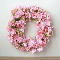 八重桜のリース Lサイズ ピンク 直径約40cm 送料無料※北海道・沖縄・離島を除く