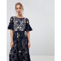 フロック レディース ワンピース トップス Frock And Frill Allover Floral Embroidered Lace Maxi Dress With Flutter Sleeve