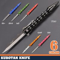 ●グリップ力の高いフィンガーグルーブクボタン型折りたたみナイフ●防犯・護身用のクボタンとしての使用が...