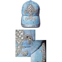 キャップ ラインストーン ユリの紋章 フルール デニム ビジュー キャップ 帽子