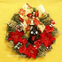 【造花リース】クリスマスリース 30cm 『魔女の宅急便』ジジのマスコット付シルクフラワーリース FL-CH-318