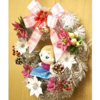 【クリスマス】クリスマスリース 30cm 「アナと雪の女王」「アナ」 マスコット付シルクフラワー(造花)リース FL-CH-427
