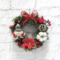 【送料無料】【クリスマス】クリスマスリース 20cm サンタマスコット付き シルクフラワー(造花)リース  FL-CH-439